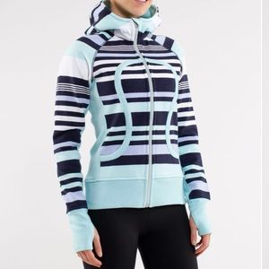 LULULEMON | Scuba Hoodie Striped Aqua Blue 12